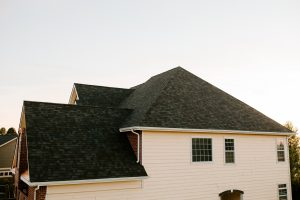 Malarkey Vista Architectural Shingles in Black Oak on Residential Roof Back of Roof